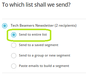 Setup Mailchimp - select email list.