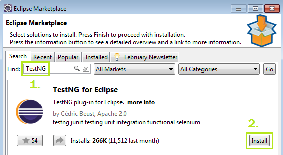 Install TestNG - Search Eclipse Marketplace