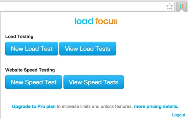 Load Focus chrome extension for web load testing