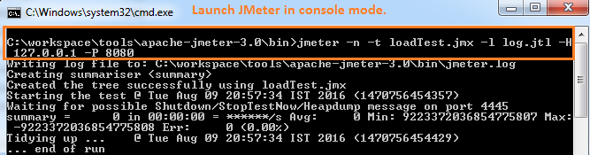 JMeter Tutorial Launch JMeter in Console Mode