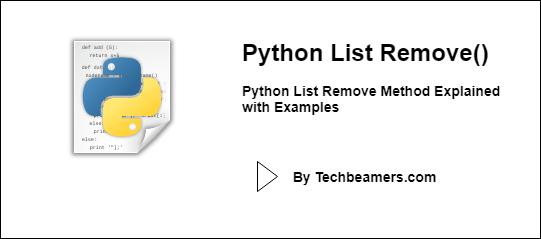 Python List Remove Method Explained with Examples